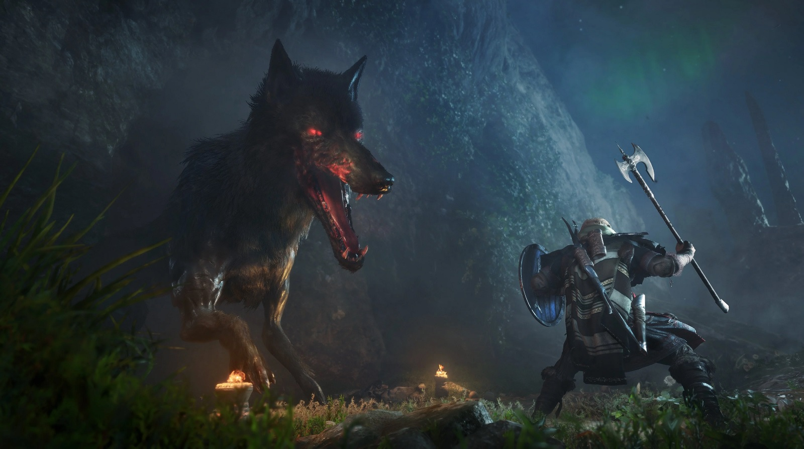 Fighting Fenrir from Assassin's Creed Valhalla